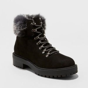 Black Aaron Faux Fur Tipped Lace Up Winter Boots